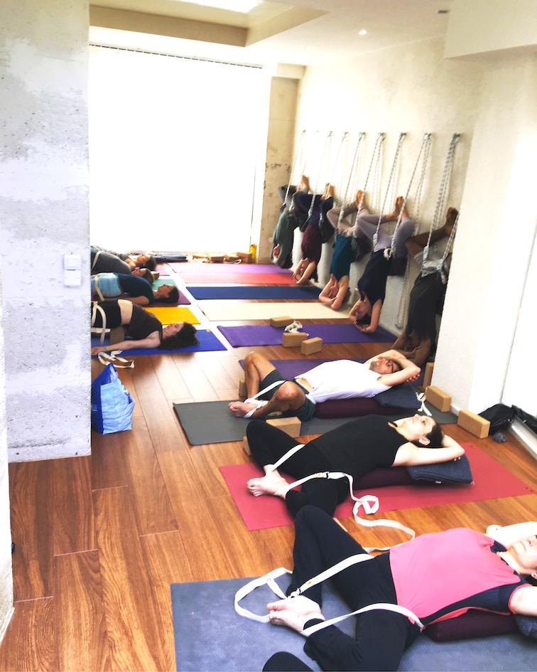 En yoga Iyengar, nous pouvons utiliser des supports dans certains cours pour compléter la pratique posturale.